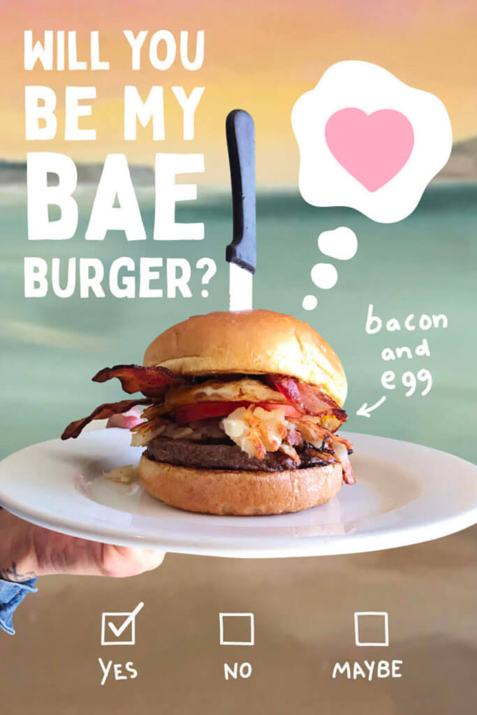 Will you be my bae burger? yes? no? maybe? Always yes to a burger with bacon and eggs.