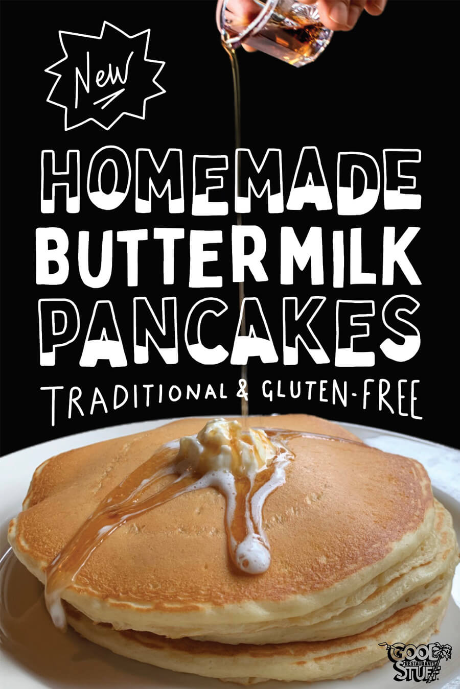 New homemade buttermilk pancakes. traditional & gluten-free available.